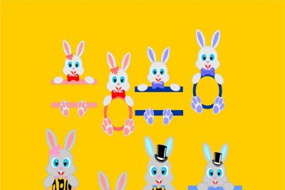 Bunny Monogram Frame SVG