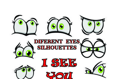 Eyes silhouettes- SVG, DXF, EPS, JPEG, PNG, AI