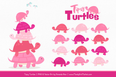 Sweet Stacks Tipsy Turtles Stack Clipart in Pink