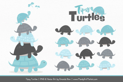 Sweet Stacks Tipsy Turtles Stack Clipart in Soft Blue & Pewter