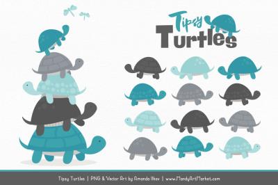 Sweet Stacks Tipsy Turtles Stack Clipart in Vintage Blue & Pewter