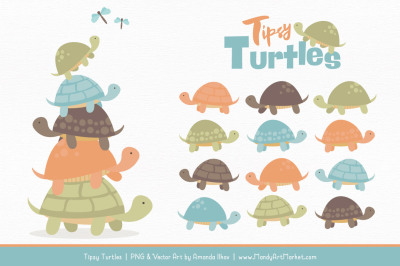 Sweet Stacks Tipsy Turtles Stack Clipart in Vintage Boy