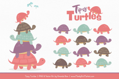 Sweet Stacks Tipsy Turtles Stack Clipart in Vintage Girl