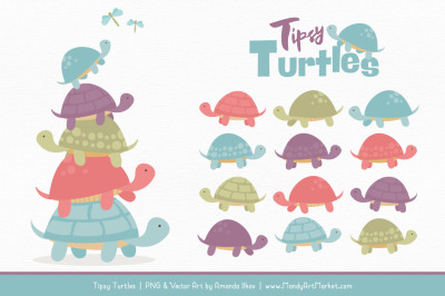 Sweet Stacks Tipsy Turtles Stack Clipart in Vintage