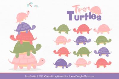 Sweet Stacks Tipsy Turtles Stack Clipart in Wildflowers