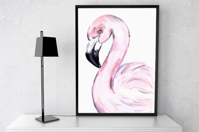 Watercolor Flamingo Print + Clip Ar