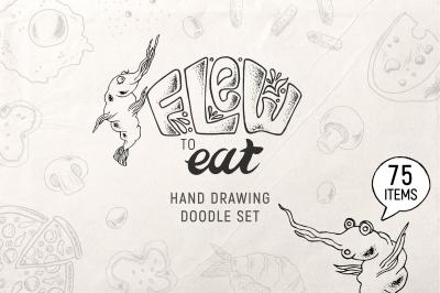 VECTOR FOOD doodle set