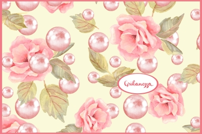 Roses and pearls. Pattern