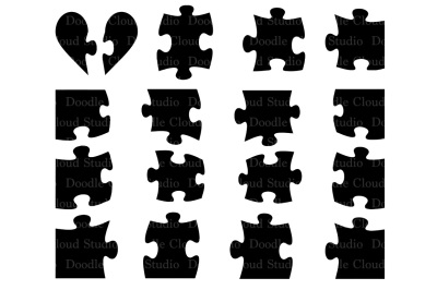 Puzzle svg, jigsaw puzzle piece svg for Silhouette Cameo and Cricut.