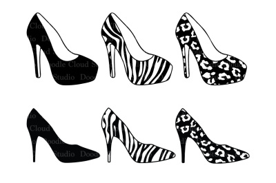 Women's high heel shoes SVG files for Silhouette Cameo and Cricut.