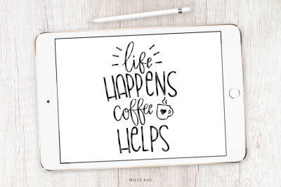 Coffee quote SVG, cutting file and decal