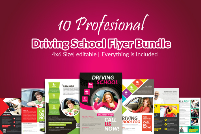 10 Driving School Flyers Templates Bundle