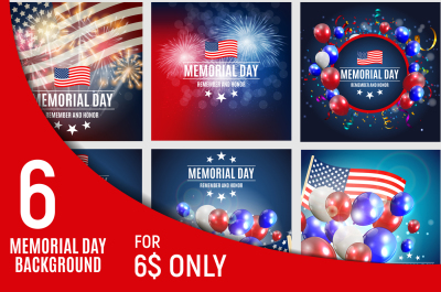 Memorial Day Background Template. Vector illustration, Raster Version