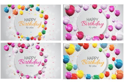 Color Glossy Happy Birthday Balloons Banner Background Vector, Raster