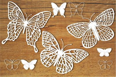 Butterflies set 3 SVG files for Silhouette Cameo and Cricut.