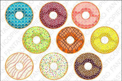 Donut Clip Art doughnut clipart JPG files and PNG files.