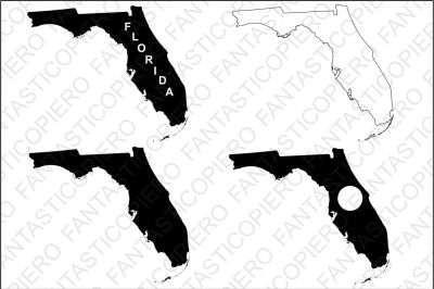 Florida map SVG files for Silhouette Cameo and Cricut.