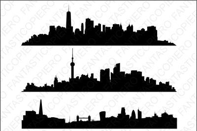 Skyline Manhattan, Shanghai, London SVG files