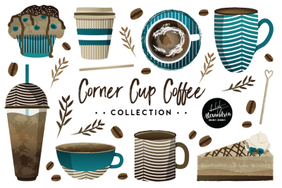 Corner Cup Coffee Graphics & Patterns Bundle