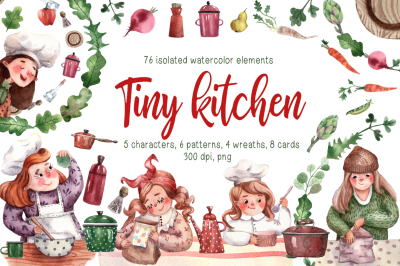 Tiny Kitchen - Watercolor Clip Art Set