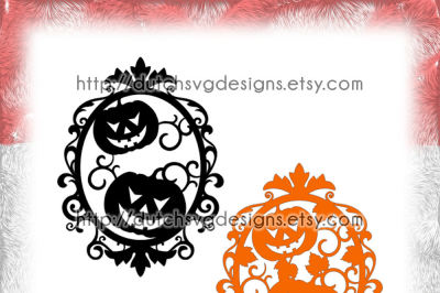 Halloween frame cutting file with decorated border and pumpkins, in Jpg Png SVG EPS DXF for Cricut & Silhouette, swirls swirly curls curly