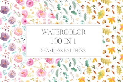 100 Watercolor Floral Seamless Patterns