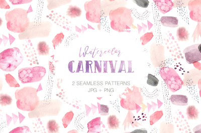 2 Watercolor Carnival Patterns