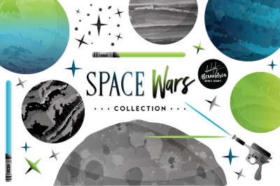 Space Wars Graphics & Patterns Bundle