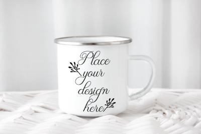 PSD smart Camping mug enamel metal cup mock up template scout mockup