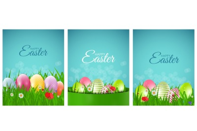 Happy Easter Natural Background with Eggs, grass, flower.  Vector