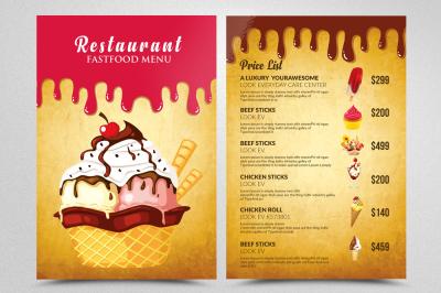 Ice Cream Restaurant Menu Templates