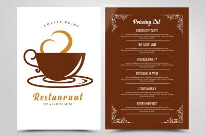 Cafe' Tea Menu Templates