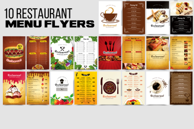 10 Restaurant Menu Templates Bundle