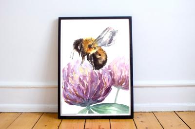 Watercolor Bumblebee & Clover Clip Art + Print