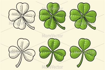 Good luck four and three leaf clover. Vintage color and black vector e