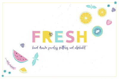 Fresh fruits & berries color art.