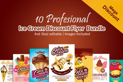 10 Ice Cream Sale Flyer Templates Bundle