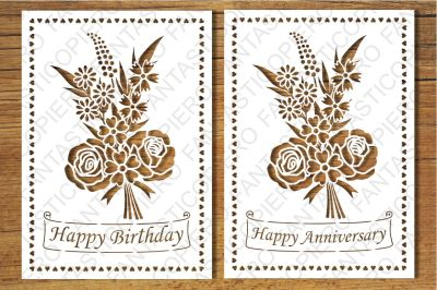 Happy Birthday, Happy Anniversary, Greeting Card (blank) SVG files