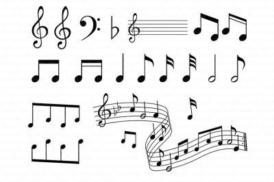 Musical Notes SVG for Silhouette Cameo and Cricut.
