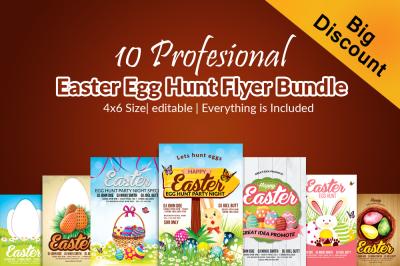 10 Easter Egg Psd Flyer Print Template Bundle