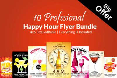 10 Happy Hour Psd Flyer Template Bundle