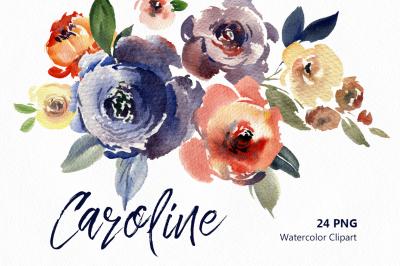 Vintage Watercolor Flowers & Leaves