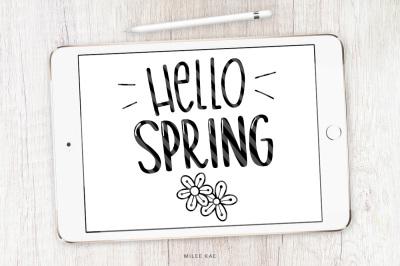 Hello Spring SVG, cutting file and decal