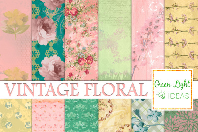 Vintage Floral Digital Papers, Shabby Distressed Scrapbook Papers