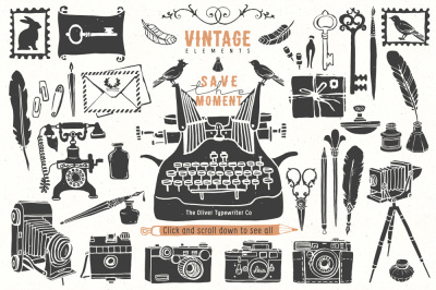 Vintage hand drawn items