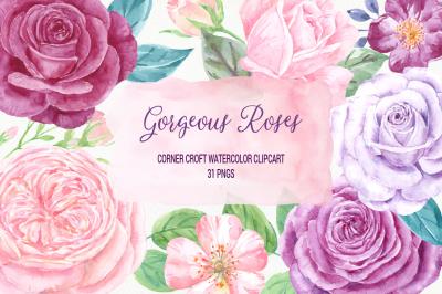 Watercolor Clip Art Gorgeous Roses
