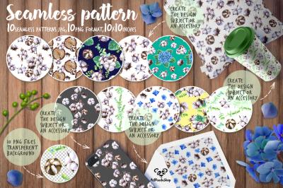 Seamless pattern Watercolor cotton and hydrangea