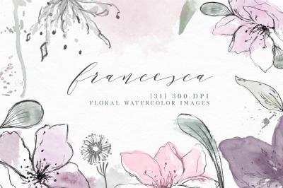 Watercolor Floral Clip Art - Delicate Elements for Design [Francesca]