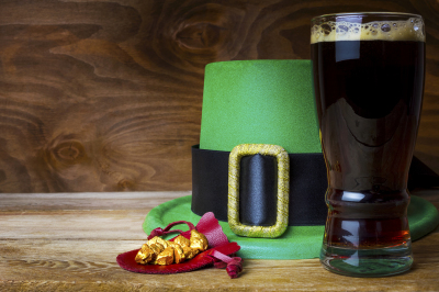 Saint Patrick day green leprechaun hat and big beer glass