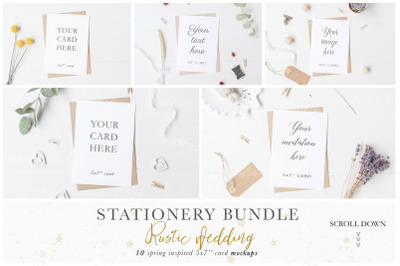 Stationery x10 Cards Mockup Bundle